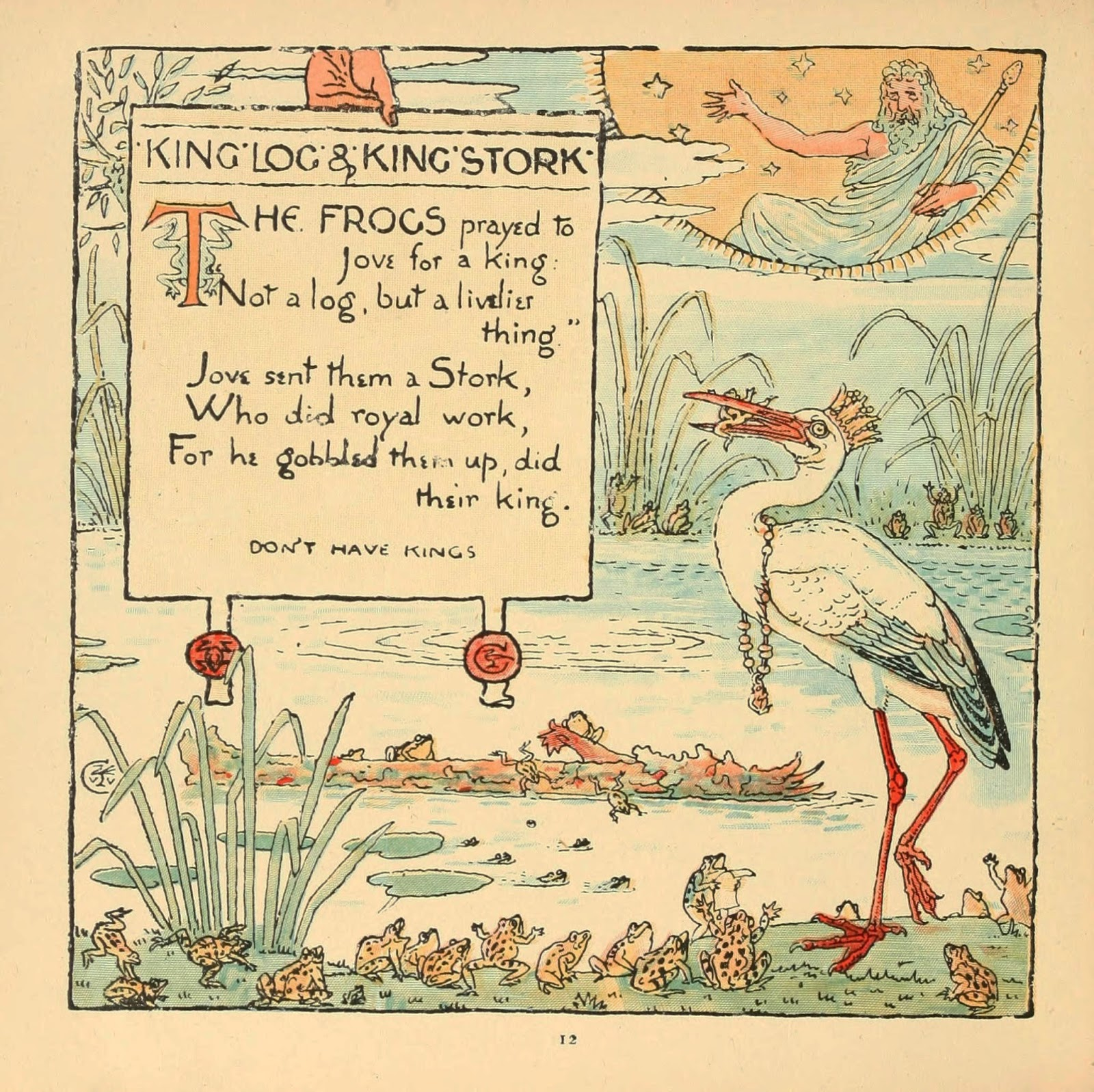 Aesop fable of stork as frog king