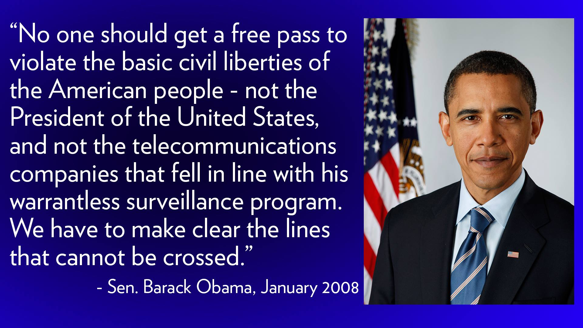 Picture of Barack Obama and 2008 quote from him on telecom immunity