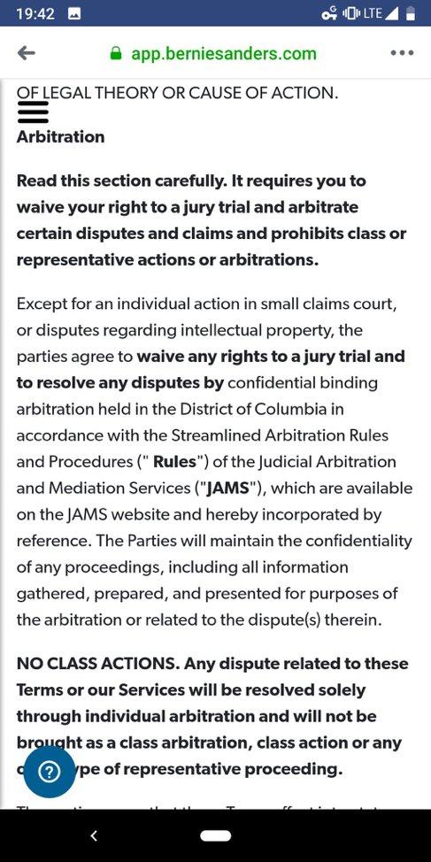 Bernie App language requiring arbitration of claims