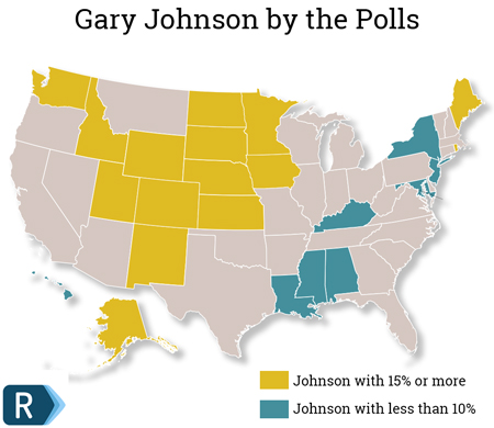 The Headline Finding For Johnson Is That He Reaches 15 Percent Of The Vote Or Better In 15 States And 10 Percent Or Better In 42 States That Is