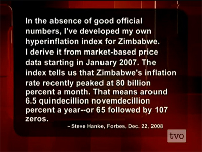 Steve H Hanke Discusses Hyperinflation In Zimbabwe On TVOs The Agenda With Paikin