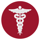 Doctors symbol in white on a red circular background