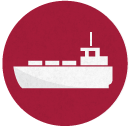White silhouette of container ship on red circular background
