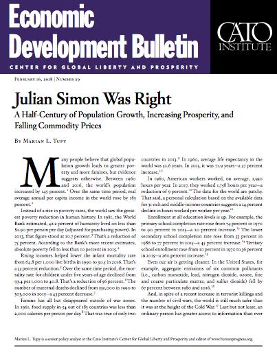Julian Simon Was Right: A Half-Century of Population Growth