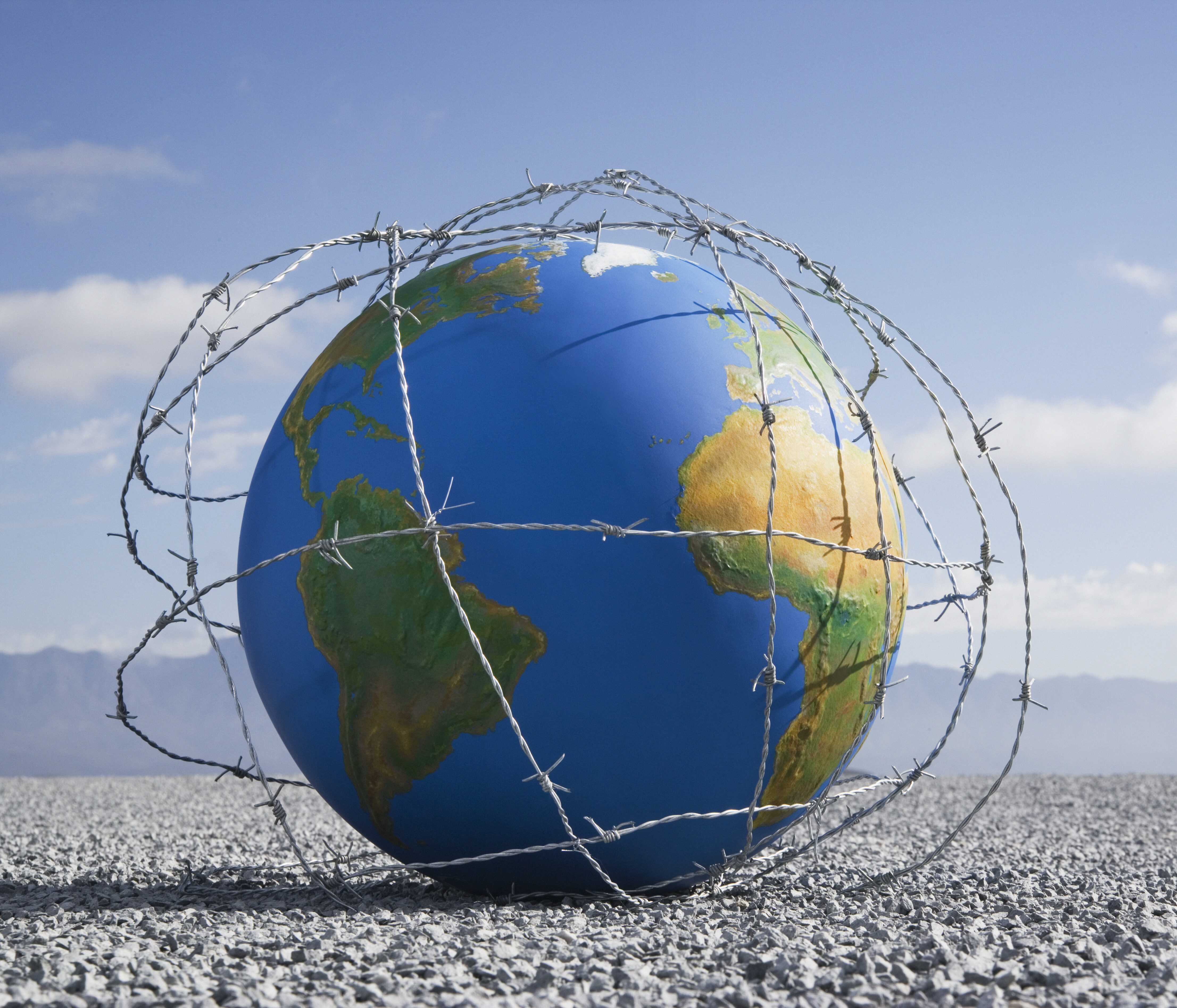 Globe with Barbed Wire