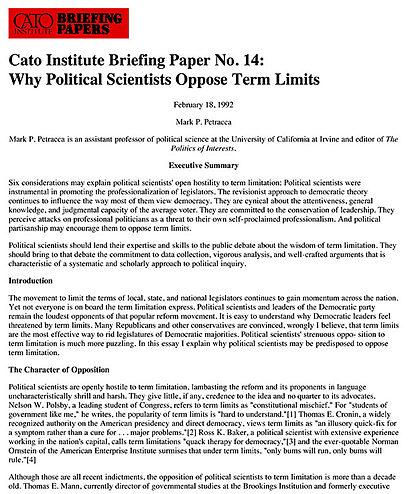 cogressional term limits essay