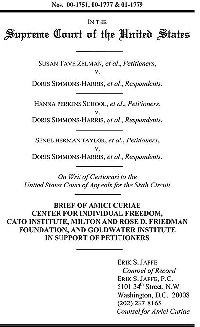zelman v simmons harris Zelman v simmons-harris, case in which the us supreme court on june 27,  2002, ruled (5–4) that an ohio school-voucher program did not violate the.