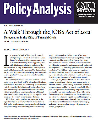A Walk Through the JOBS Act of 2012: Deregulation in the Wake of Financial Crisis