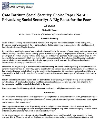 a paper on should social security be privatized Would a privatized social security system latest revision: august 3, 1998 this paper draws on a longer paper if the system were completely privatized.