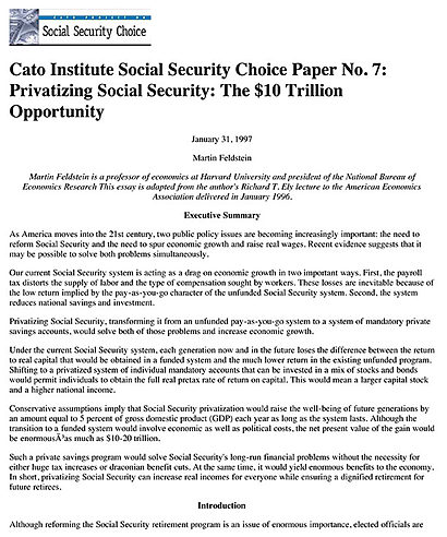 essays on privatizing social security Privatizing social security 733 periods of their lives and retire during the fourth period we assume that the level of benefits is a constant proportion of.