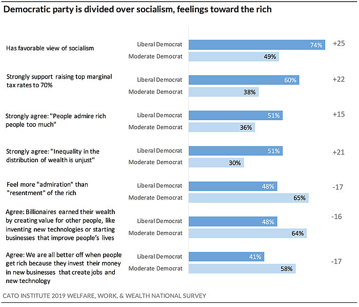 Democratic party divided over socialism, feelings toward the rich