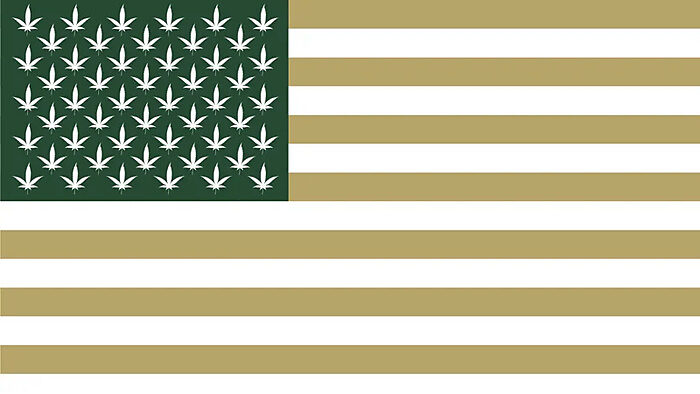 US flag with stars as cannabis leaves, blue is green, red is beige