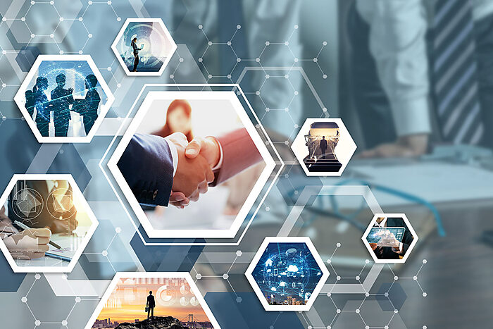 Business partnership stock image
