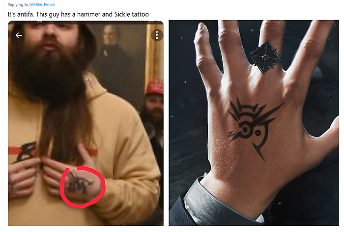 The misidentified tattoo (left) and the 'Outsider's Mark' from the video game Dishonored (right)