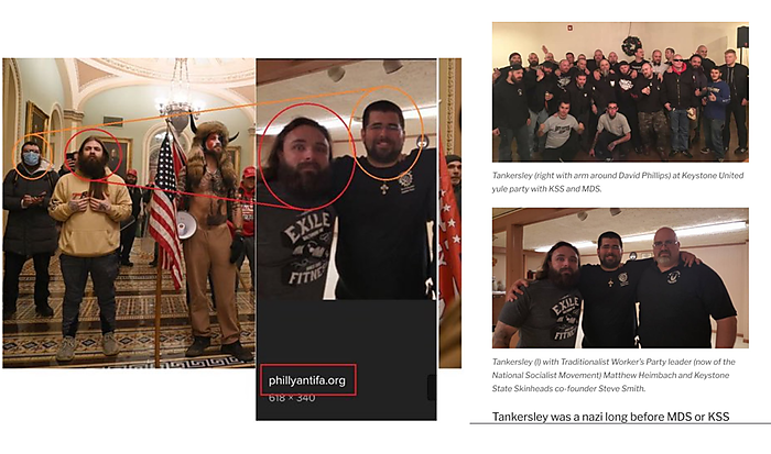 The false side-by-side (left) and the original image from an antifa website (right)