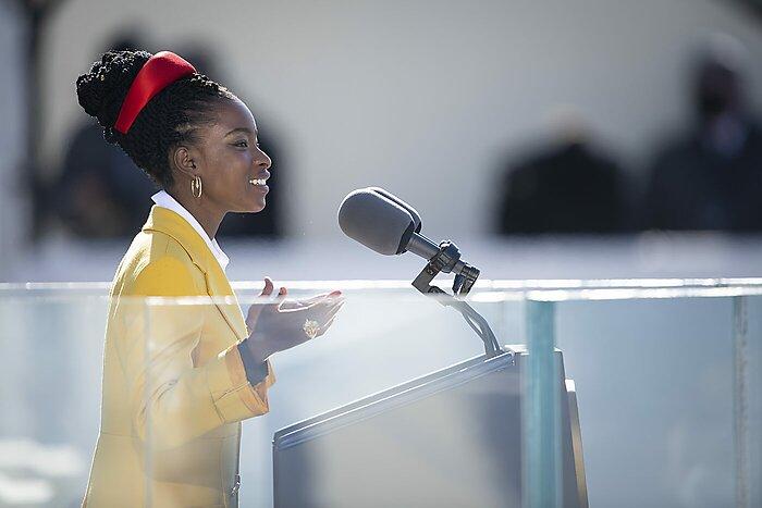 Amanda Gorman at inauguration podium