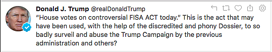 President Trump tweet on FISA Sec. 702 reauthorization