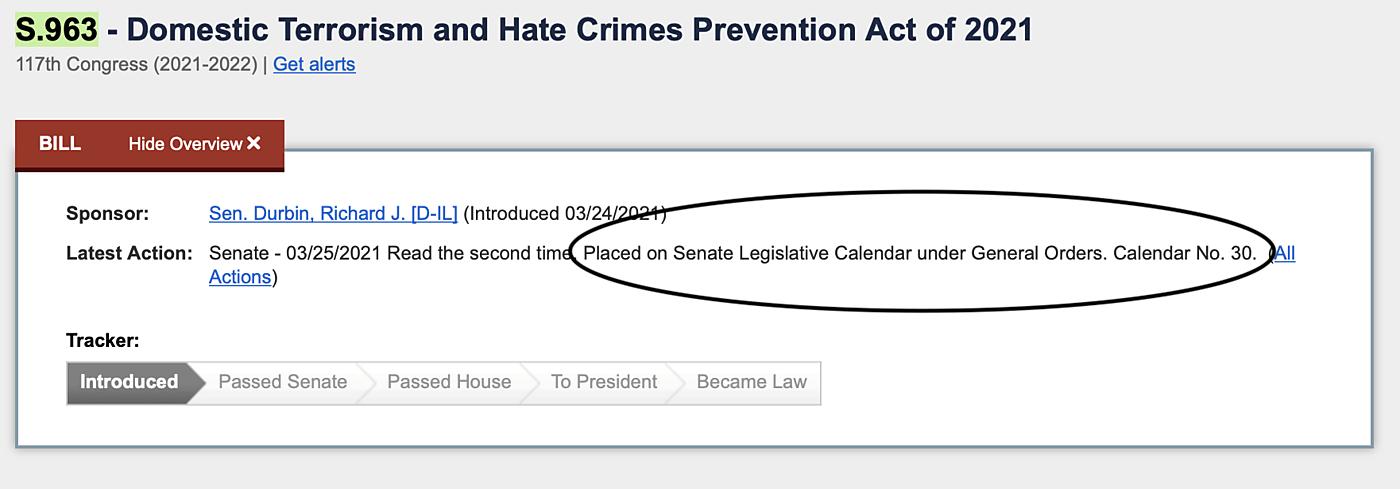 Congress.gov screen shot of S. 963 summary
