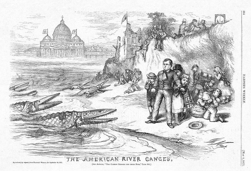 "Thomas Nast's anti-Catholic ""American River Ganges"" cartoon, 1875"