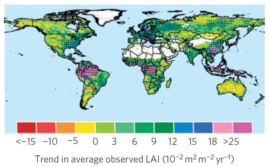 Trends in Leaf Area Index, 1978-2009. Positive tones are greening, negative are browning, and the dots delineate where the changes are statistically significant. There is approximately 9 times more area significantly greening up than browning down.