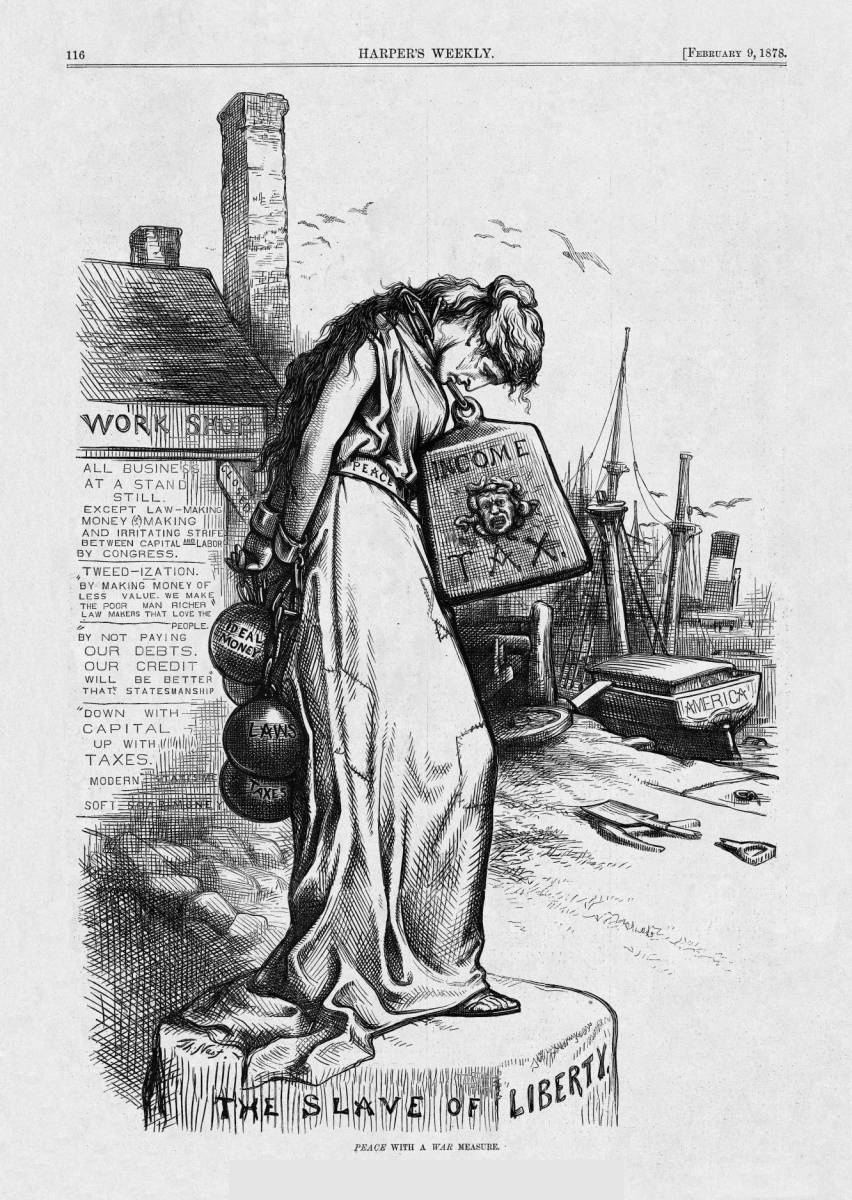 Thomas Nast Cartoon on peace and income tax