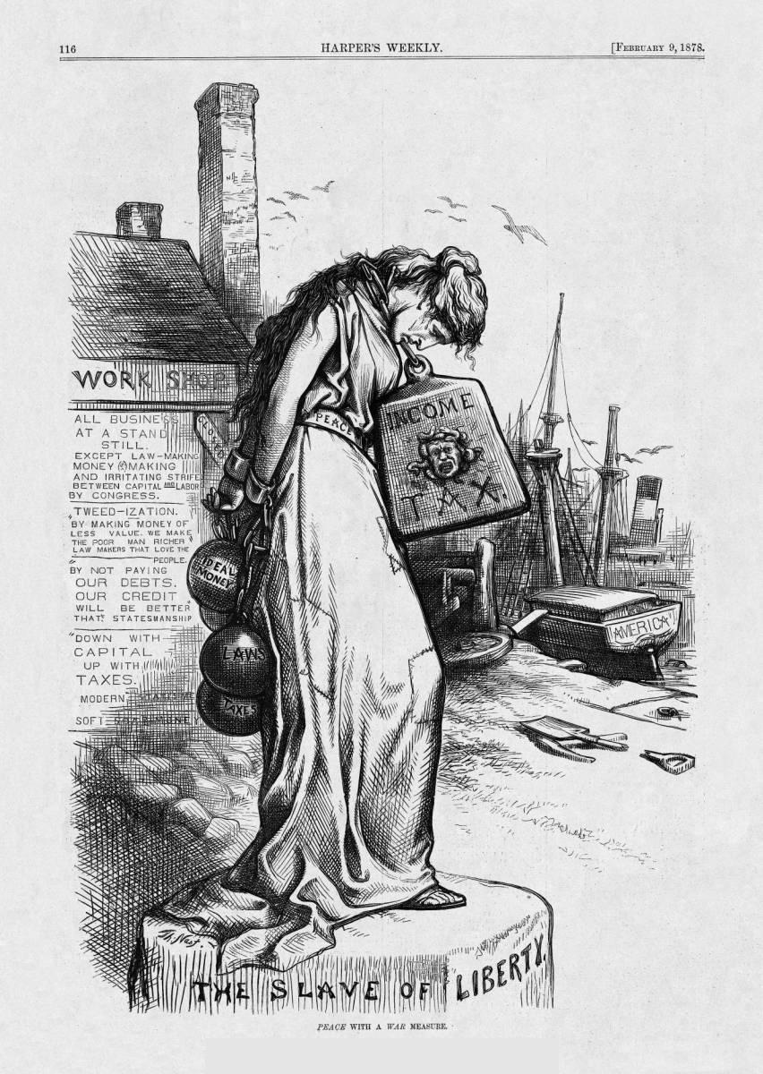 Thomas Nast Cartoon on peace and income tax