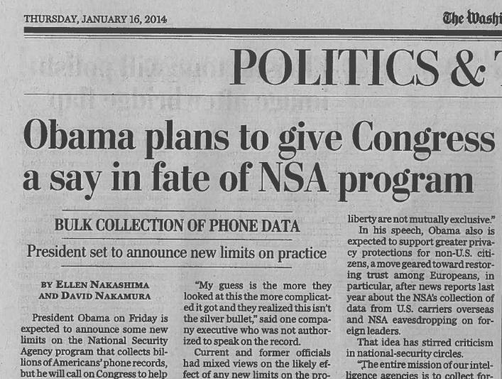 Obama allows Congress a voice in NSA