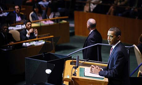 Barack Obama speaks at the UN general assembly. Photo: Jeff Zelevansky/Getty