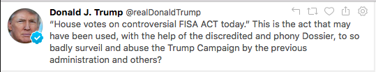 President Trump tweet on FISA Sec. 702 reauthorization
