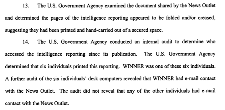 Extract of arrest warrant affidavit in the case of Reality Leigh Winner